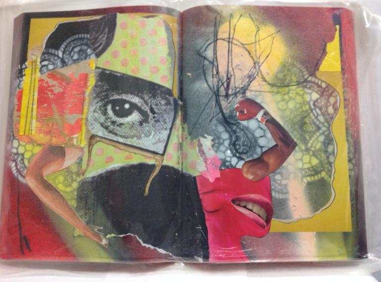 Elena Rato. 2010. Realismo psicótico actual. Serie obras al vacío. Spray y collage sobre libro. 24x34